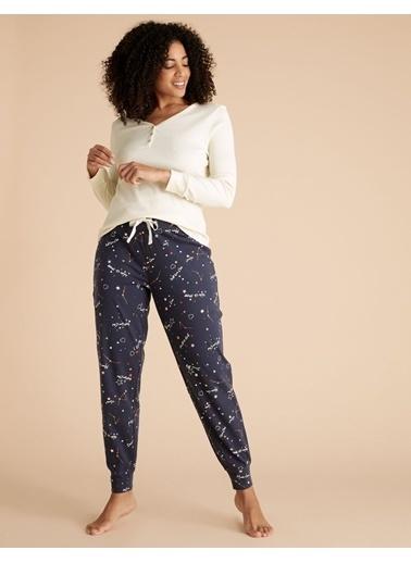 Marks & Spencer Saf Pamuklu Desenli Pijama Altı Lacivert